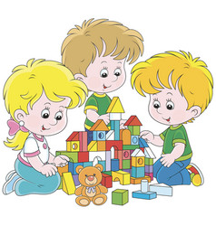 Children playing with bricks vector