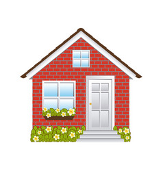 Comfortable facade small house with brick wall vector