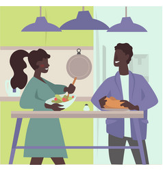 couple cooking together and preparing meal vector image