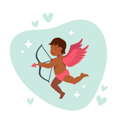 Cupid or angel with bow and arrow cute vector