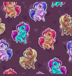 Cute seamless pattern with pretty little pony vector