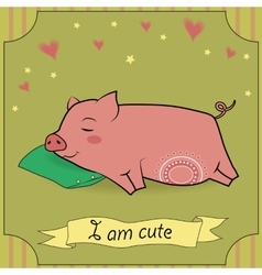 Cute Sleeping Pig vector