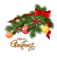 Decorated Christmas tree branch vector image