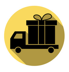 delivery gift sign flat black icon vector image