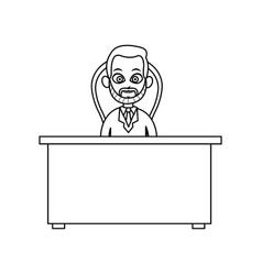 Doctor man working desk chair consult line vector