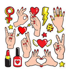 Fashion patch badges with gestures of hands vector