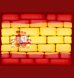 flag of spain painted on the wall vector image