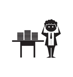 Flat icon in black and white office worker vector image