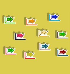 Flat icons set of progress statistics concept in vector