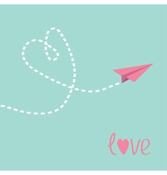 Flying paper plane Heart in the sky Love card vector image