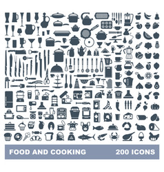 food and cooking flat icon set vector image
