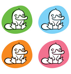 Funny cartoon platypus on colorful back vector