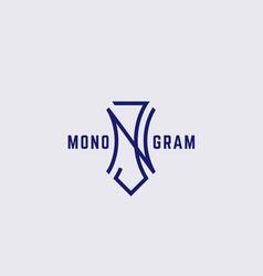geometric monogram nj vector image