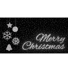 Glitter silver inscription Merry Christmas vector