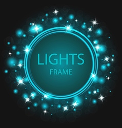 glittering frame blue background glowing stars vector image