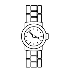 Gold watch icon outline style vector