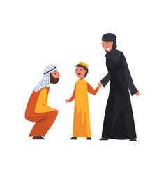 happy arab family in traditional clothes muslim vector image