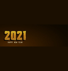 happy new year 2021 banner golden text vector image