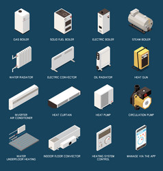 Heating system isometric set vector