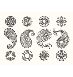 Henna tatoo paisley icons set vector image