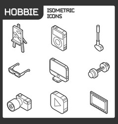 hobbie outline isometric icons set vector image