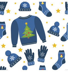 holiday christmas seamless pattern winter clothes vector image