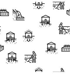 House foundation base seamless pattern vector
