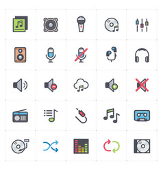 icon set - voice and audio full color vector image