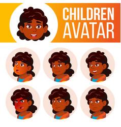 indian girl avatar set kid primary school vector image