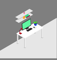 Isometric designer workplace concept vector