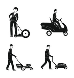 Lawnmower service man icons set simple style vector