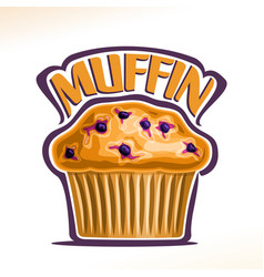 Logo for blueberry muffin vector