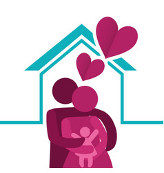 lovely family together heart decoration vector image