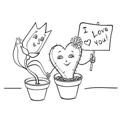 lovers tulip and cactus hold hands vector image