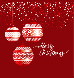luxury red xmas bubbles with gold decor vector image