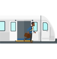 Man going out of train vector image vector image