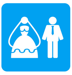 Marriage persons rounded square icon vector