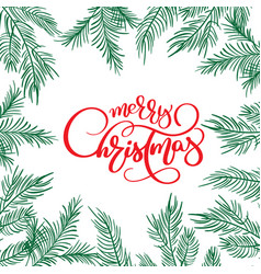 merry christmas calligraphy lettering text and and vector image