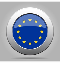 Metal button with Flag of Europe vector