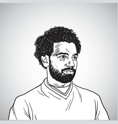 mo salah portrait cartoon caricature vector image