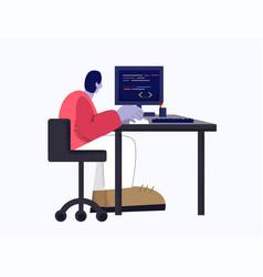 Modern male web developer working with program vector