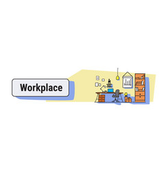 modern office interior design workplace desk vector image