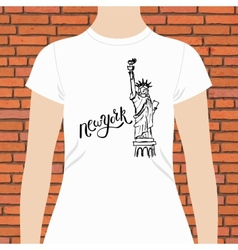 New York T-Shirt with Statue of Liberty Design vector