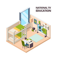 online lesson at home kids student study at home vector image