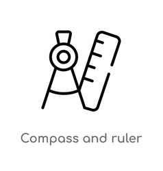 Outline compass and ruler for mathematics icon vector