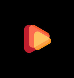 play icon abstract triangle button orange shape vector image