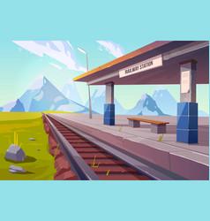 railway station mountains empty railroad platform vector image
