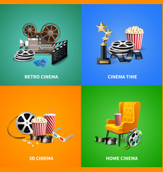 Realistic cinema design concept vector