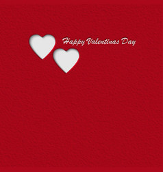 red textured paper valentines day card with hearts vector image