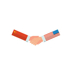 representatives usa and china shake hands vector image